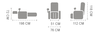 chair size Komoder km350